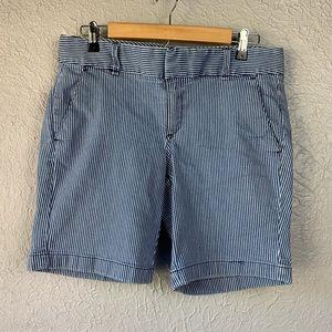 J. Crew Stripe Andie Shorts blue / wht stretchy 10